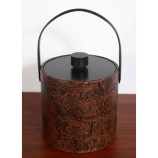 Vintage Mid Century Faux Tooled Leather Ice Bucket Preview