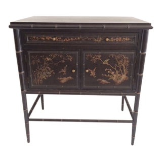 Vintage Chinoiserie Small Ebony Cabinet