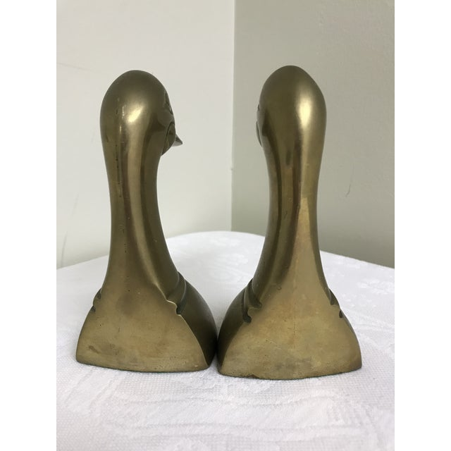 1960s vintage brass duck head bookends.