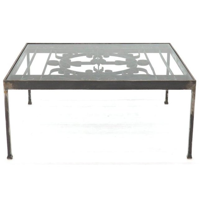 Metal Massive Wide Rectangle Glass Top Wrought Iron Coffee Center Table For Sale - Image 7 of 11