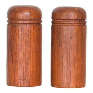Vintage Scandinavian Simple Salt Pepper Shaker Set in Teak - a Pair For Sale