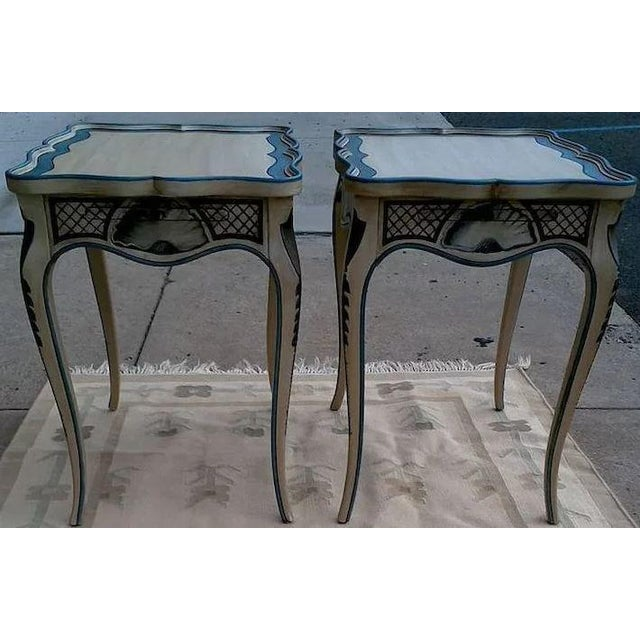 French Tea Tables With French Style Paint Cabriole Legs and Candle Slides - a Pair For Sale - Image 3 of 11