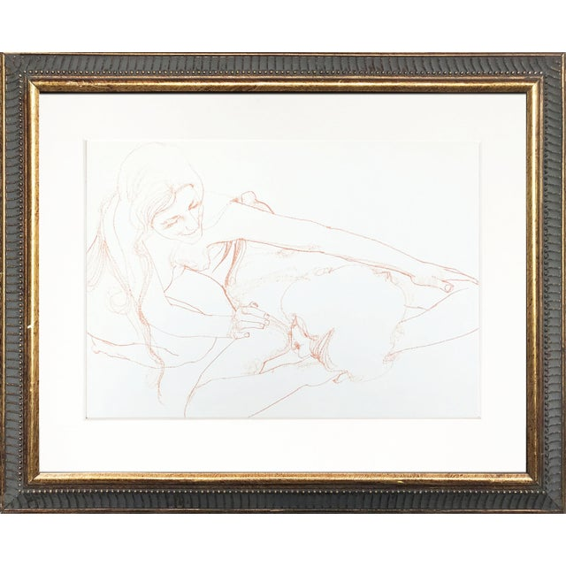 """Vintage (C.1960s-70s) sanguine drawing of a nude couple. Presented matted and in a dark gold frame. Image size: 9"""" x 11"""",..."""