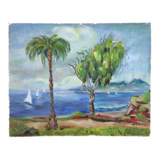 "Vintage 1970s Landscape Painting ""Montana at Ocean Boulevard, Santa Monica"" by Malla Poisa For Sale"