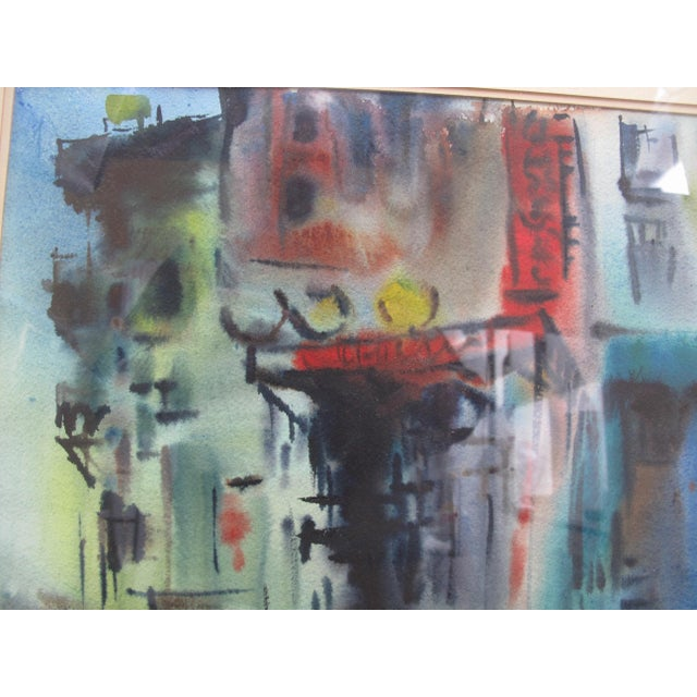 Abstract Vintage Mid-Century Manfred Lindenberger Chinatown #2 Watercolor Painting For Sale - Image 3 of 6