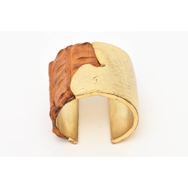 Modern Hammered Brass and Crocodile Leather Cuff Signed Artisan Bracelet For Sale - Image 3 of 10