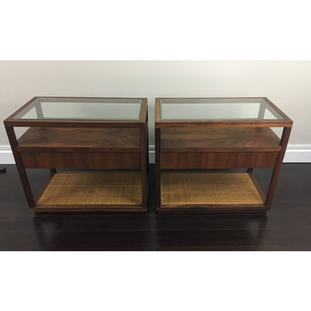 These two mid-century modern tables are absolutely gorgeous. Wood (likely  cherry)