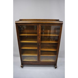 20th Century Victorian Golden Tiger Oak Glass Double Door China Cabinet Bookcase Preview