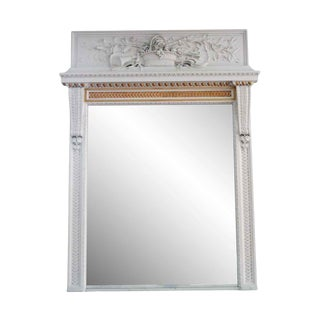 Waldorf Astoria Carved White Wooden Overmantel Mirror For Sale