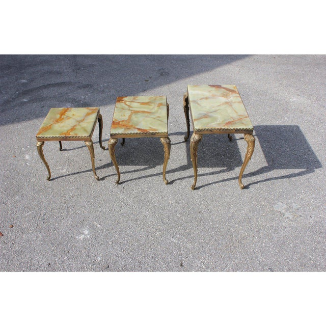 1940s French Maison Jansen Bronze Onyx Top Nesting Tables - Set of 3 For Sale In Miami - Image 6 of 13