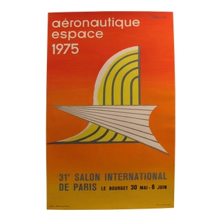 1975 Original Vintage French Aviation Poster, Aéronautique Espace (Le Bourget) - Villemot, 31e Salon Internaitonal De Paris. For Sale