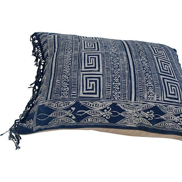 Indigo Batik Fringe Pillow - Image 2 of 5