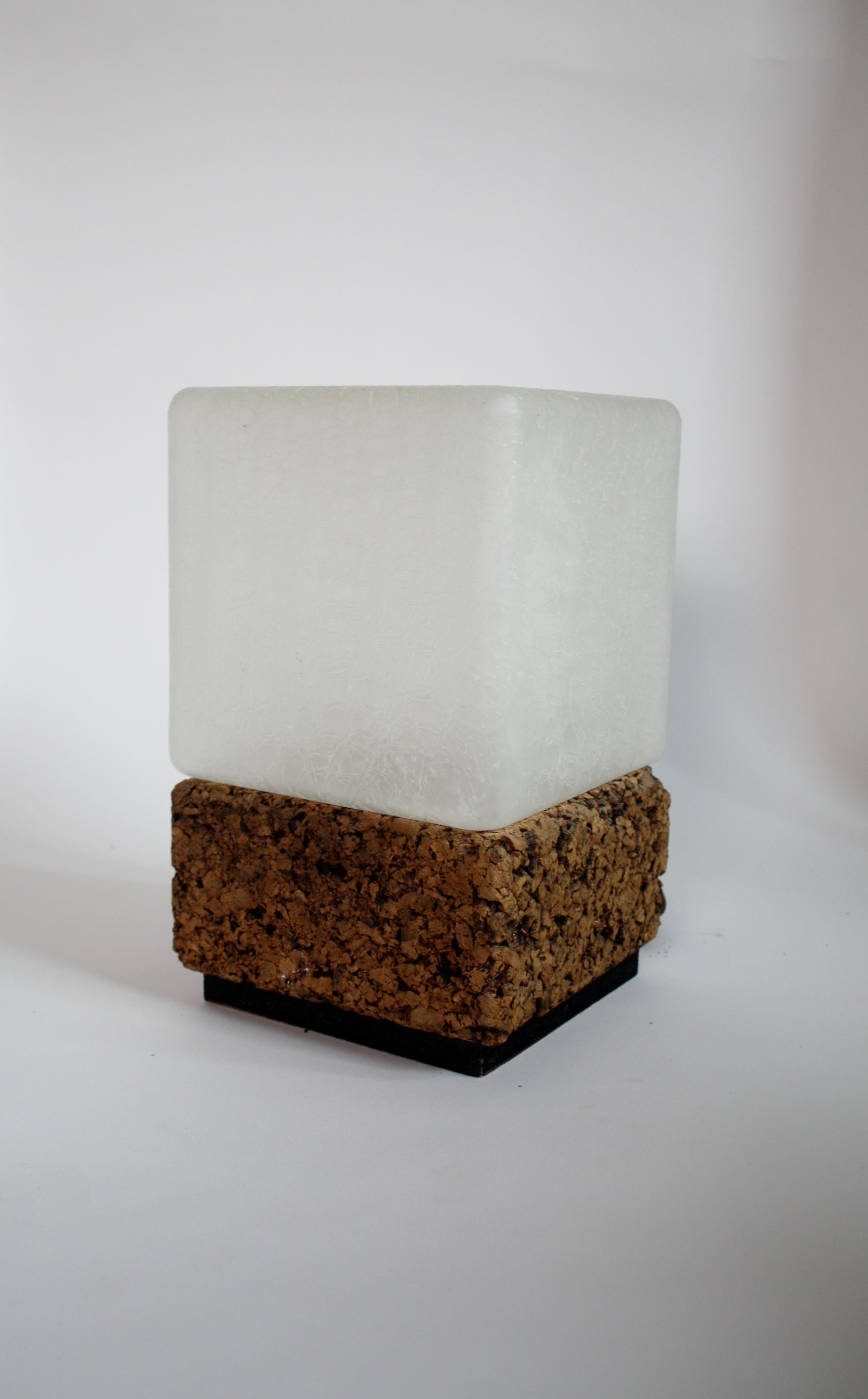 Cube Cork U0026 Glass Shade Lamp   Image 3 ...