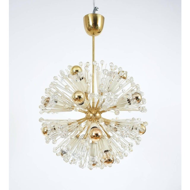 Rupert Nikoll Pair of Emil Stejnar Starburst Brass and Glass Chandeliers For Sale - Image 4 of 5