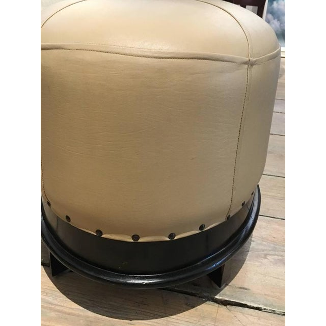1950s Pair of Mid-Century Modern Leather and Mahogany Ottomans For Sale - Image 5 of 9