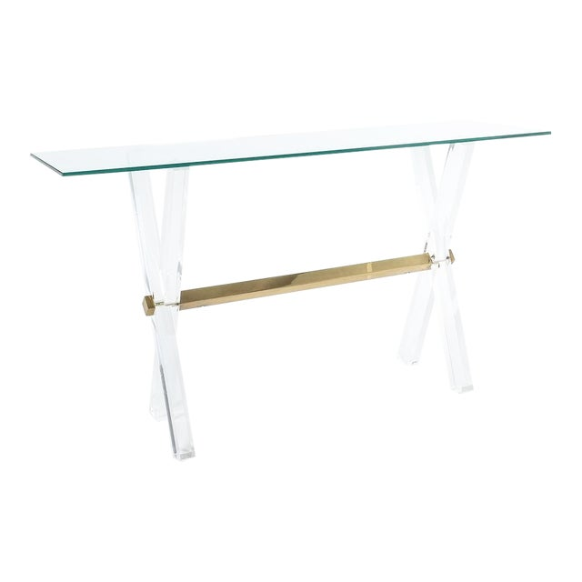 Lucite and Brass X Frame Console Table, Circa 1970 For Sale