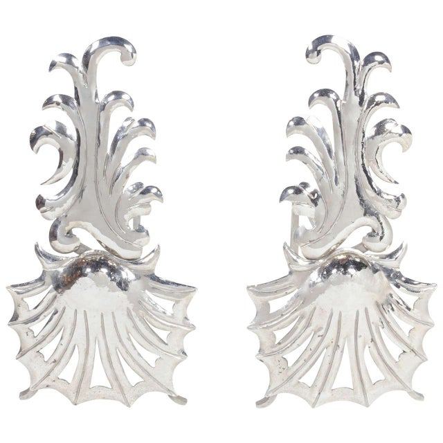 Metal Pair of Elegant Hollywood Regency Fireplace Andirons For Sale - Image 7 of 7