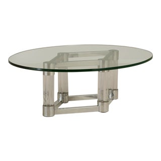 Chunky Lucite and Aluminium Coffee Table 1970s For Sale