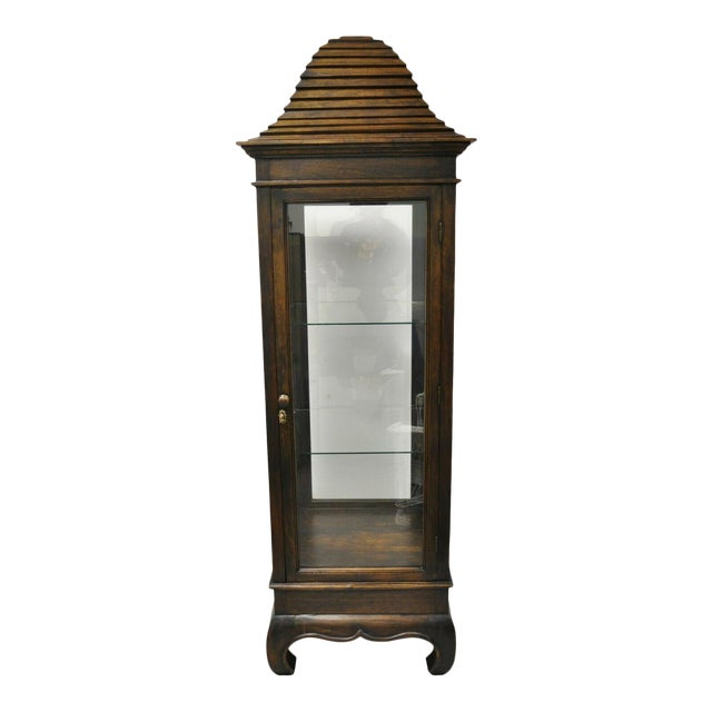 Vintage Chinoiserie Pagoda Top Wooden Curio Display Cabinet Beehive Ming Legs For Sale