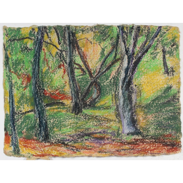 Mid-Century Modern Forest Landscape in Pastel on Handmade Paper For Sale - Image 3 of 3