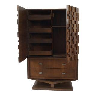 American 1970s Brutalist Style Walnut Wardrobe Cabinet For Sale