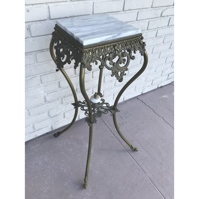 Hollywood Regency Vintage Marble Top Wrought Iron Pedestal For Sale - Image 3 of 9