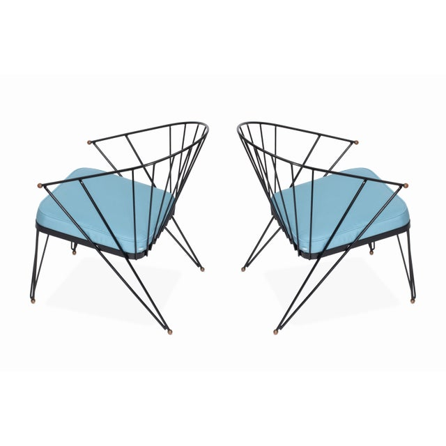 Mid-Century Modern Vintage Mid Century Wrought Iron and Brass Patio Chairs - a Pair For Sale - Image 3 of 5