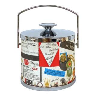 60s Mid-Century Modern Travel Motif Ice Bucket For Sale