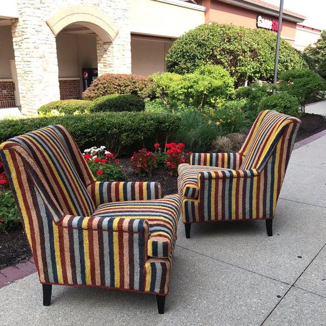Century Furniture Vintage Century Furniture Kravet Vespa Multi Color Stripe Club Chairs - a Pair For Sale - Image 4 of 13