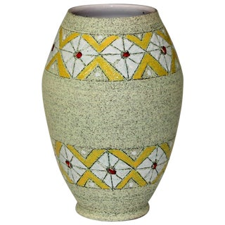 Brothers Fanciullacci Raymor Vase Diamond Band Vintage Italian Pottery Ceramic For Sale