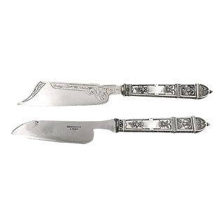 French Silver Handle Cheese Knives - A Pair