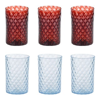 Mandala Drinking Glasses, Blue and Red Duo - Set of 6 For Sale