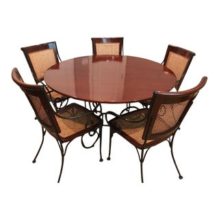 Spanish Colonial Grange Madras Round Dining Set - 6 Pieces For Sale