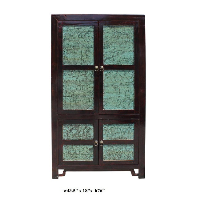 Wood Chinese Distressed Turquoise & Brown Armoire For Sale - Image 7 of 7