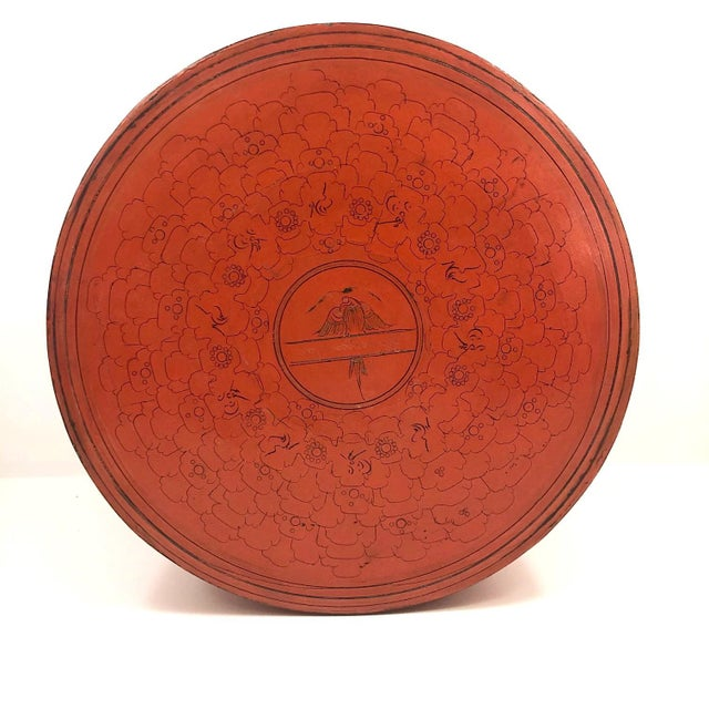 This is a gorgeous, extra large antique Burmese lacquer cinnabar colored betel box. Very early 20th century I believe,...