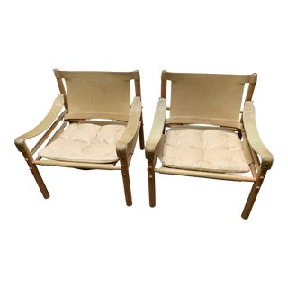 Swedish Arne Norell Safari Chairs - a Pair For Sale