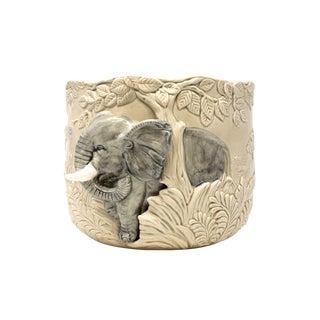 Vintage Ceramic Elephant Planter or Cachepot For Sale