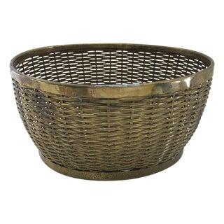 Vintage Brass Woven Oval Basket