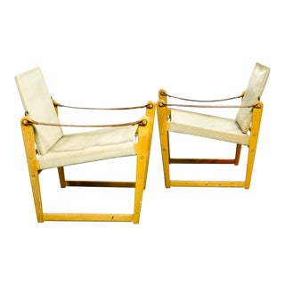 Pair of Mid-Century Swedish Design Safari Chairs by Bengt Ruda for Ikea, 1960s For Sale