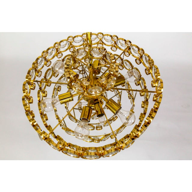 Metal Circular Gilt Brass & Optical Lens Crystal Multi Tier Chandelier by Palwa For Sale - Image 7 of 13