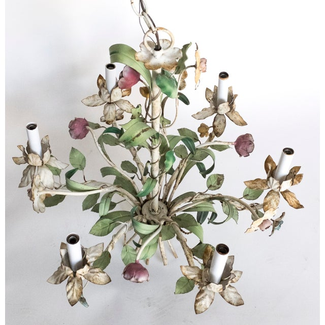 Metal Vintage Shabby Tole Flower Chandelier For Sale - Image 7 of 9