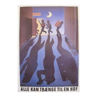Original 1980's Danish Design Poster, Musicians and a Black Cat
