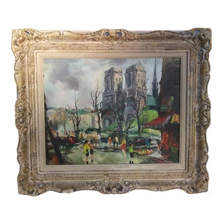"1963 ""Notre Dame"" Mid-Century Painting by Eleanor Sigler, Framed For Sale"