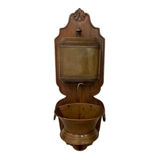 Antique French Brass and Wood Lavabo For Sale