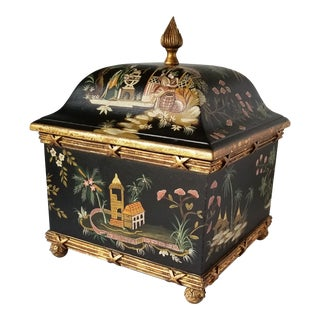 Vintage Decorative Chinoiserie Hand Painted Gilt Box For Sale