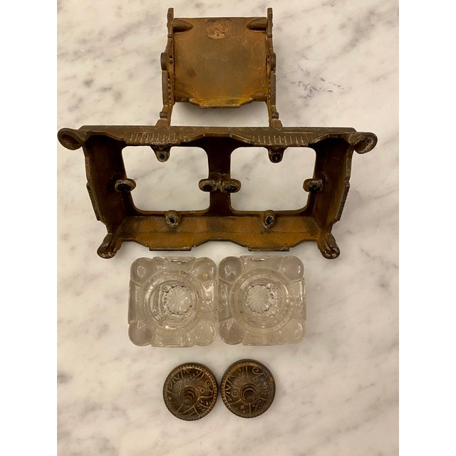 Traditional 1877 Victorian Cast Iron and Pressed Glass Double Inkwell For Sale - Image 3 of 13