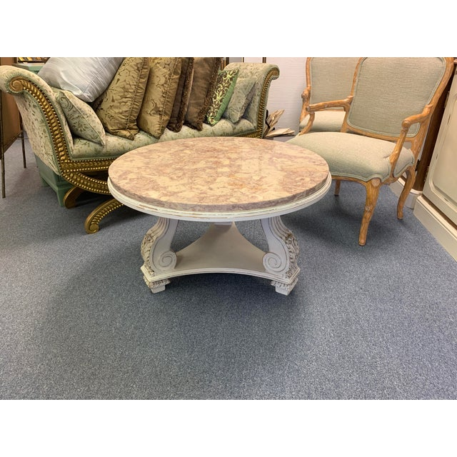 Beige French Neoclassical Aurora Blush Marble Coffee Table For Sale - Image 8 of 9