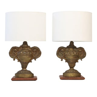 Pair of Repousse Tole Lamps For Sale