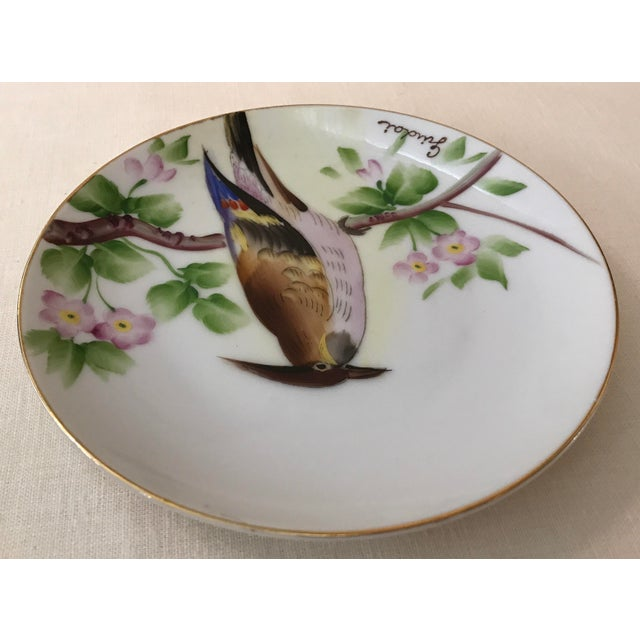 Ceramic Guidai Japanese Hand Painted Bird Plate For Sale - Image 7 of 8