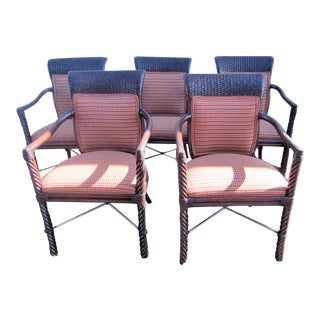 Woven Rattan & Bamboo Upholstered Chairs - Set of 5